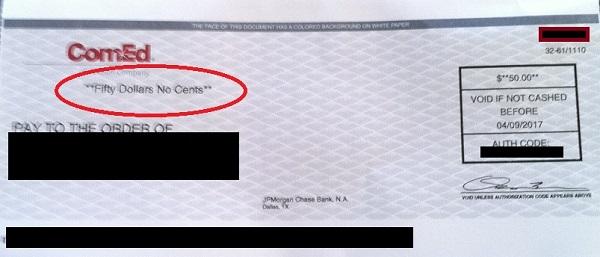 ComEd Rebate Check