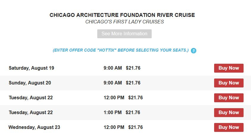 Discount Chicago Architecture Foundation River Cruises