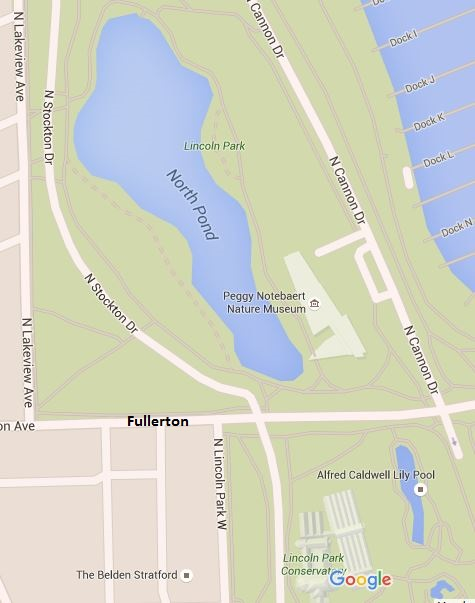 Lincoln Park North Pond and Alfred Caldwell Lily Pool Map
