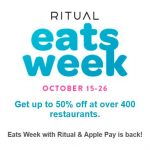 Ritual Eats Week up to 50% off Oct 15-26