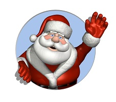 A cartoon Santa Claus waves through a circle - 3D render.