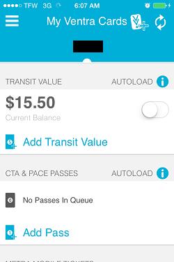 Ventra App Metra Ticket screen 1