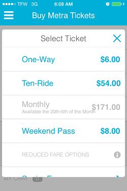 Ventra App Metra Ticket screen 10