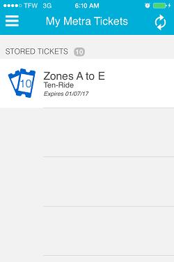 Ventra App Metra Ticket screen 14
