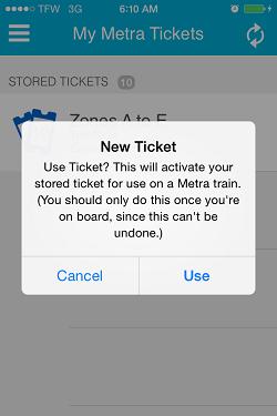 Ventra App Metra Ticket screen 15